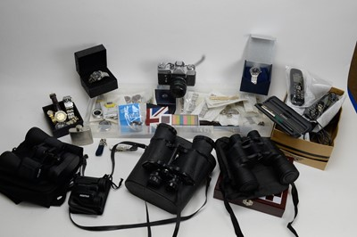 Lot 228 - Collection of gent's wristwatches, watch bracelets, binoculars, and other items.