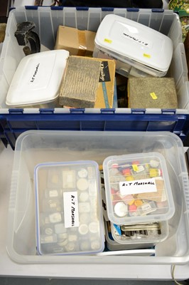 Lot 267 - Two plastic bins of watchmaking parts and tools.