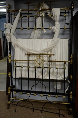 Lot 115 - Victorian black painted and brass half tester bed.