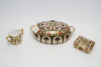 Lot 245 - Royal Crown Derby tureen and cover, two-handled cup; and similar jar and cover.
