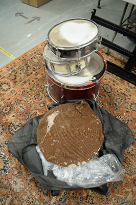 Lot 490 - Assorted snare and other drums; cymbal heads; and music stands.