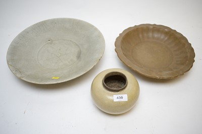 Lot 430 - A Chinese squat jar, and two porcelain dishes.