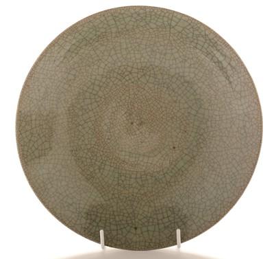 Lot 413 - Chinese crackle glaze dish, stoneware vase