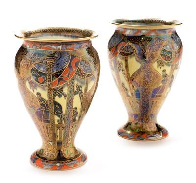 Lot 532 - Pair of Wedgwood Lahore pattern lustre vases