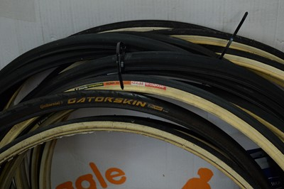 Lot 722 - Road bike tyres; and two Campagnolo wheel bags.