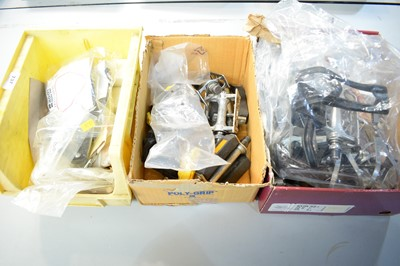 Lot 737 - Pedals, shoe plates and toe clips, various.