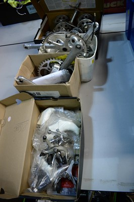 Lot 738 - Cranks, wheel hubs, brakes and break hoods, various makers.