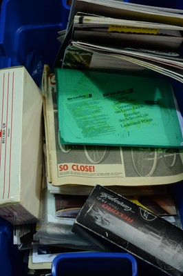 Lot 740 - Cycling literature; and a qty of empty component boxes.