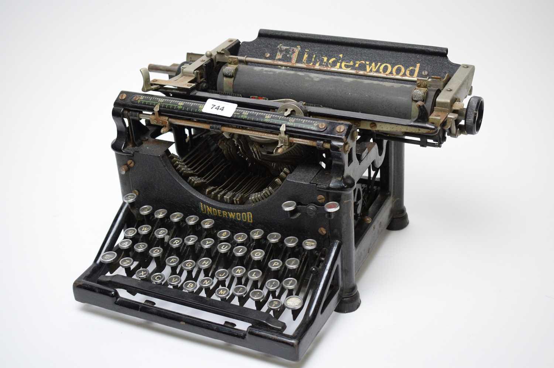 Lot 744 - A vintage Underwood office typewriter.