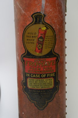 Lot 747 - Three vintage fire extinguishers; and a wall-mount fire alarm bell.