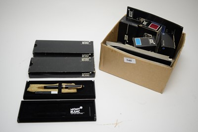 Lot 749 - Three Montblanc propelling pencils; and sundry bottles of ink.