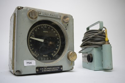 Lot 754 - A nautical EM log speed indicator and distance register; and a water detector Series 100.