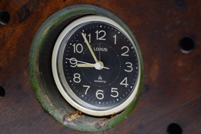 Lot 769 - A Lorus quartz clock set into the boss of a vintage aeroplane propeller.