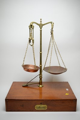 Lot 768 - A set of brass balance scales.