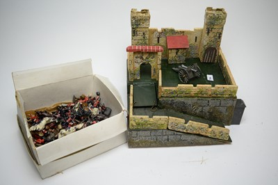 Lot 784 - Britains hollow-cast toy soldiers; and a wooden fort.