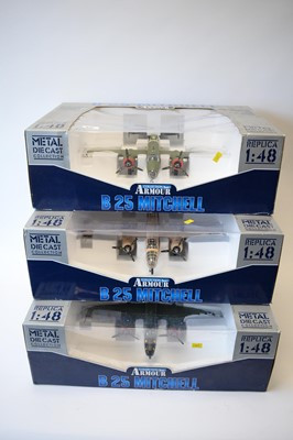 Lot 820 - Collection Armour 1:48 Scale metal diecast aeroplanes - B25 Mitchell Bombers.