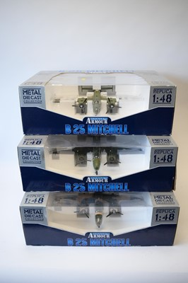 Lot 476 - Collection Armour 1:48 Scale metal diecast aeroplanes - B25 Mitchell Bombers.