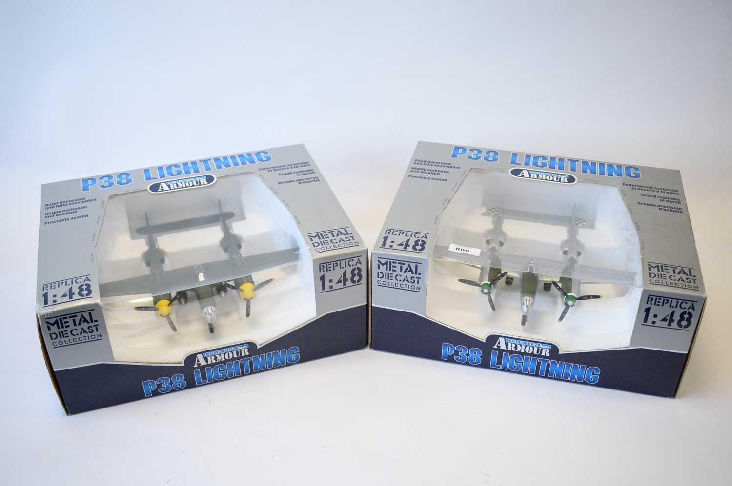 Lot 808 - Collection Armour 1:48 Scale metal diecast aeroplanes - P38 Lightning.