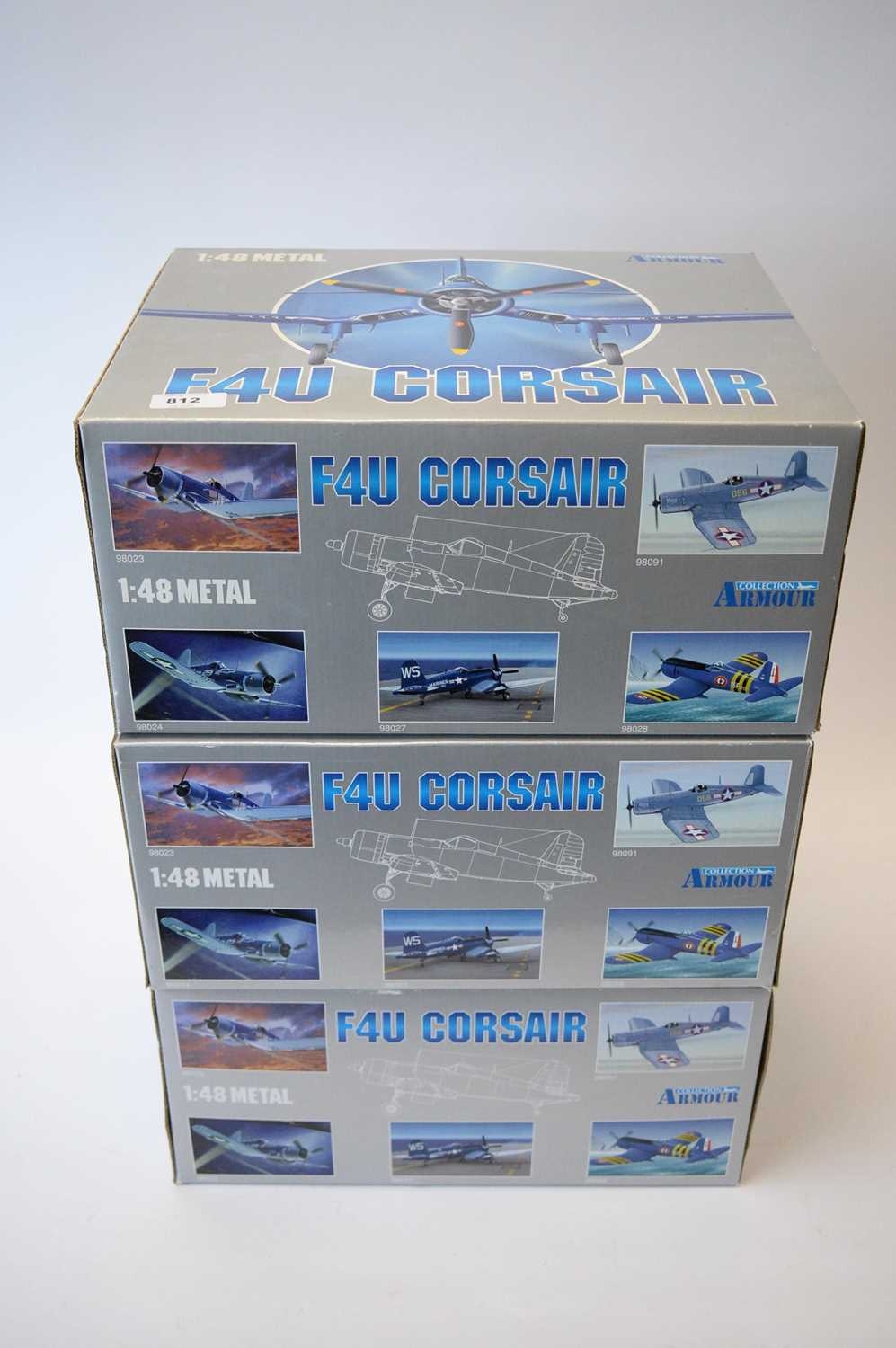Lot 812 - Collection Armour 1:48 Scale metal diecast aeroplanes - F4U Corsair.