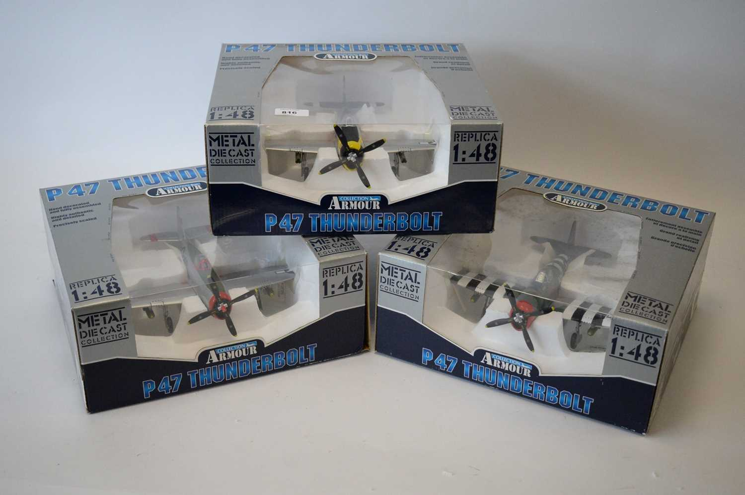 Lot 816 - Collection Armour 1:48 Scale metal diecast aeroplanes - P47 Thunderbolt.