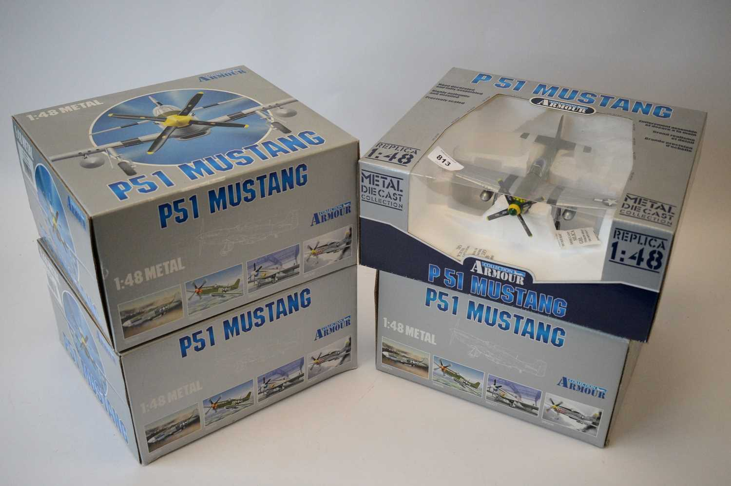 Lot 813 - Collection Armour 1:48 Scale metal diecast aeroplanes - P51 Mustang.