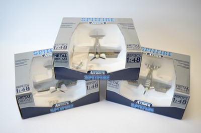 Lot 482 - Collection Armour 1:48 Scale metal diecast aeroplanes - Spitfire.
