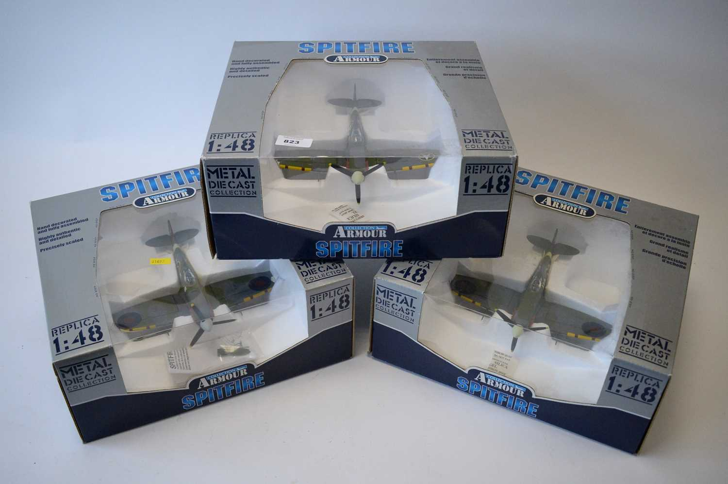 Lot 823 - Collection Armour 1:48 Scale metal diecast aeroplanes - Spitfire.
