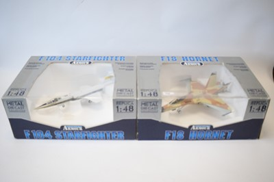 Lot 798 - Collection Armour 1:48 Scale metal diecast aeroplanes - F18 Hornet and F104 Starfighter.