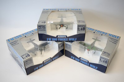 Lot 830 - Collection Armour 1:48 Scale metal diecast aeroplanes - FW190 Focke Wulf.