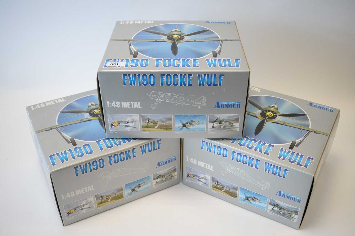 Lot 831 - Collection Armour 1:48 Scale metal diecast aeroplanes - FW190 Focke Wulf.