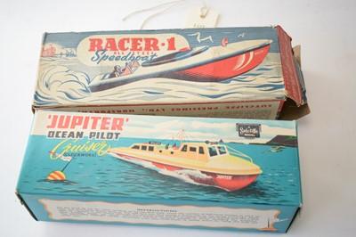 Lot 859 - Sutcliffe tinplate clockwork model boats.