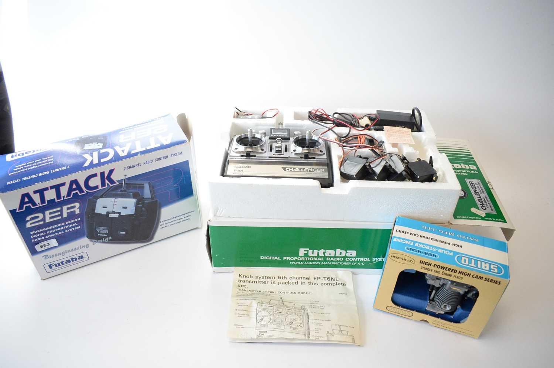 Lot 853 - Two Futaba radio control systems; and a Saito FA-40 Special aeroplane engine.