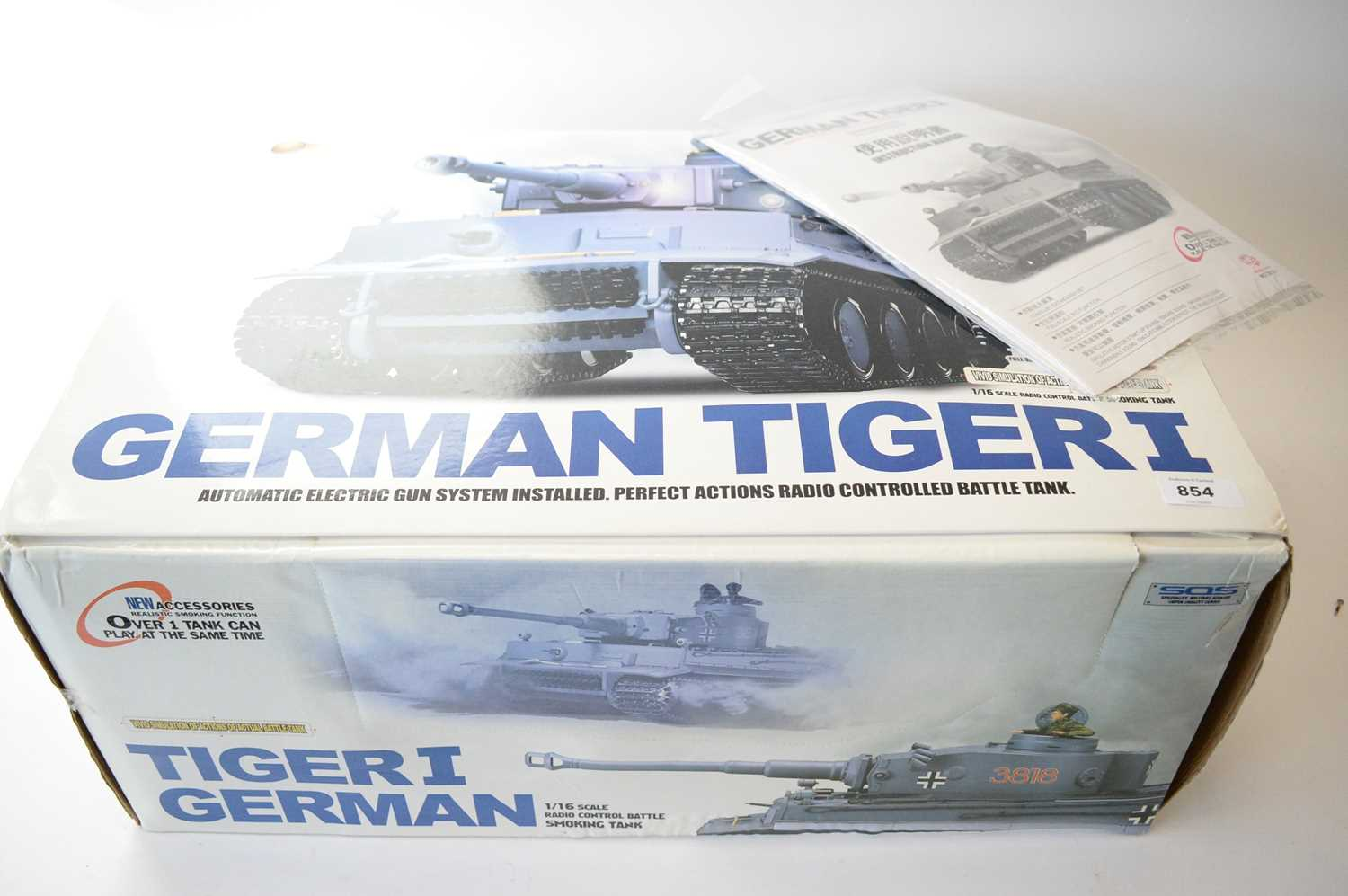 Lot 854 - A radio control 1:16 scale model of a German Tiger tank.