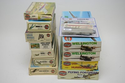 Lot 877 - 1:72 scale plastic construction kits; and a 1:48 scale Hawker Hurricane Mk. 1.