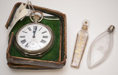 Lot 245A - Goliath pocket watch, cased, and two scent bottles.
