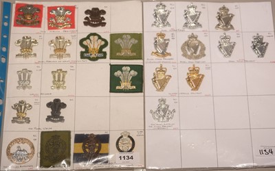 Lot 1134 - A collection of 26 Welch and Northern Ireland Glengarry cap badges.