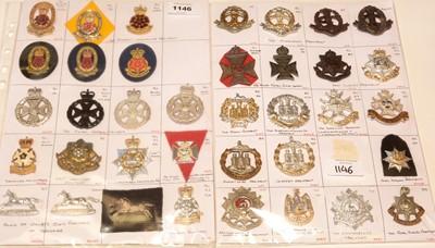 Lot 1146 - A collection of 37 Regimental cap badges.