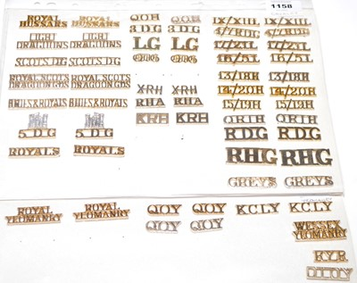 Lot 1158 - A collection of 29 pairs and 3 single Cavalry and Yeomanry shoulder titles.