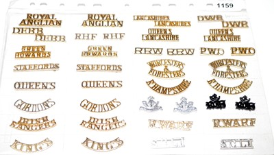Lot 1159 - A collection of 20 pairs of Infantry shoulder titles.