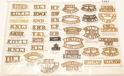 Lot 1167 - A collection of 37 single and 2 pairs of Infantry shoulder titles.