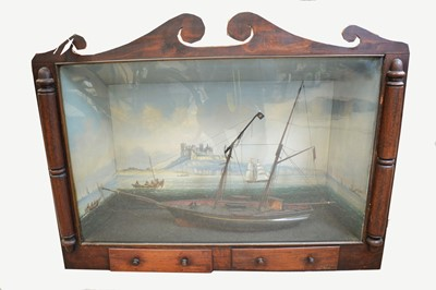 Lot 862 - A 19th C carved and painted-wood model schooner.