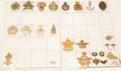Lot 1177 - A collection of 16 Post 1950's Canadian cap badges.