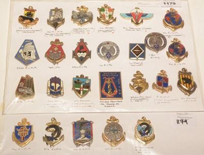 Lot 1179 - A collection of 25 French enamel Regimental pocket crests.
