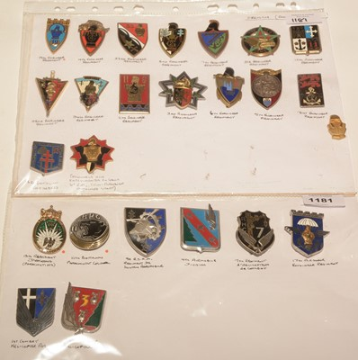 Lot 1181 - A collection of 25 French enamel pocket crests.