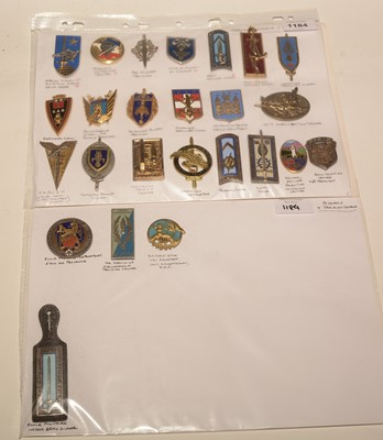 Lot 1184 - A collection of 25 French enamel School and Training Centre pocket crests.