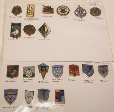 Lot 1186 - A collection of 21 French enamel Transport and Signal pocket crests.