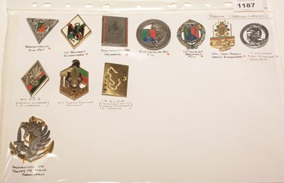 Lot 1187 - A collection of 11 French Foreign Legion enamel pocket crests.