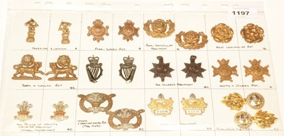 Lot 1197 - A collection of 12 pairs of British Military collar badges.