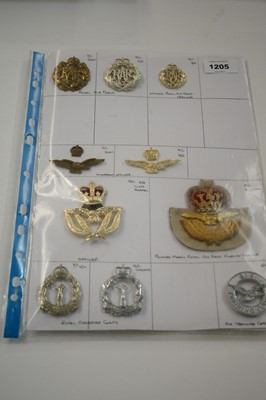 Lot 1205 - A collection of 10 RAF cap badges.