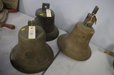 Lot 291 - Three ships brass bells